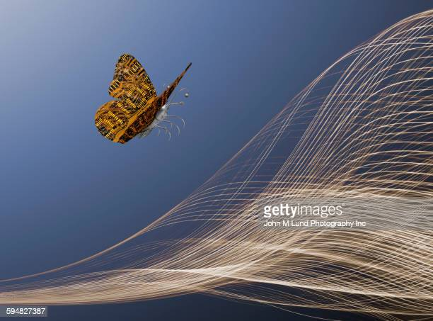 Butterfly with circuit board wings flying over light streams