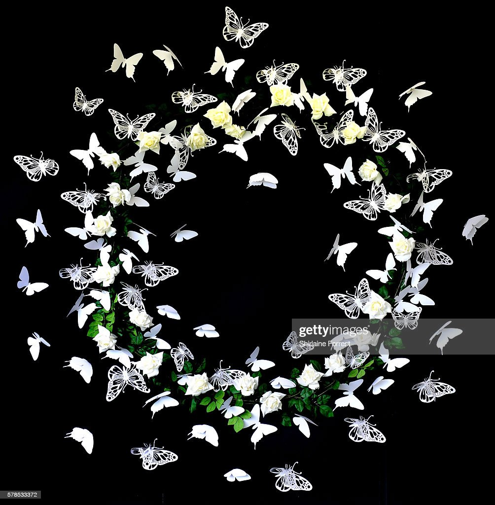 Butterfly wreath on display during the RHS Flower Show at Tatton Park on July 21 2016 in Knutsford England