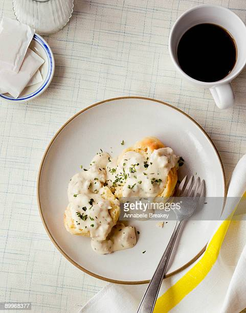 buttermilk biscuits and gravy with coffee