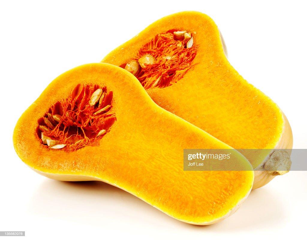 Butternut squash cut in half : Stock Photo