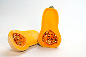 Butternut squash sliced in half for food shoot in the Los Angeles Times studio on November 5 2009