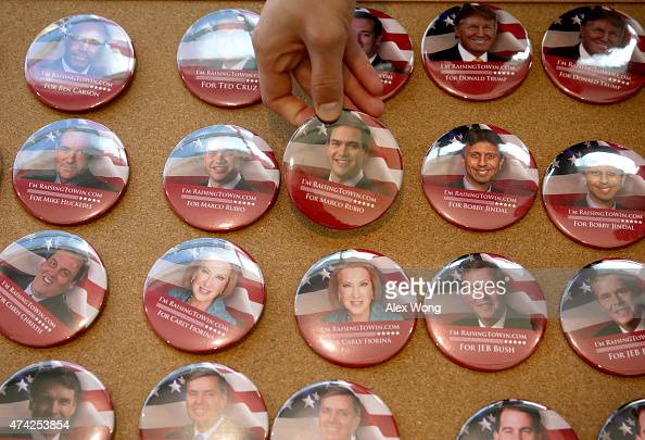 A button features Republican presidential hopeful and US Sen Marco Rubio is being picked up during the 2015 Southern Republican Leadership Conference...