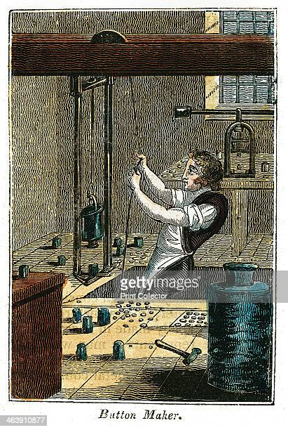 'Button Maker' 1823 Stamping out metal buttons A blank is held in place and a weight holding the die for the pattern being worked is raised by a rope...