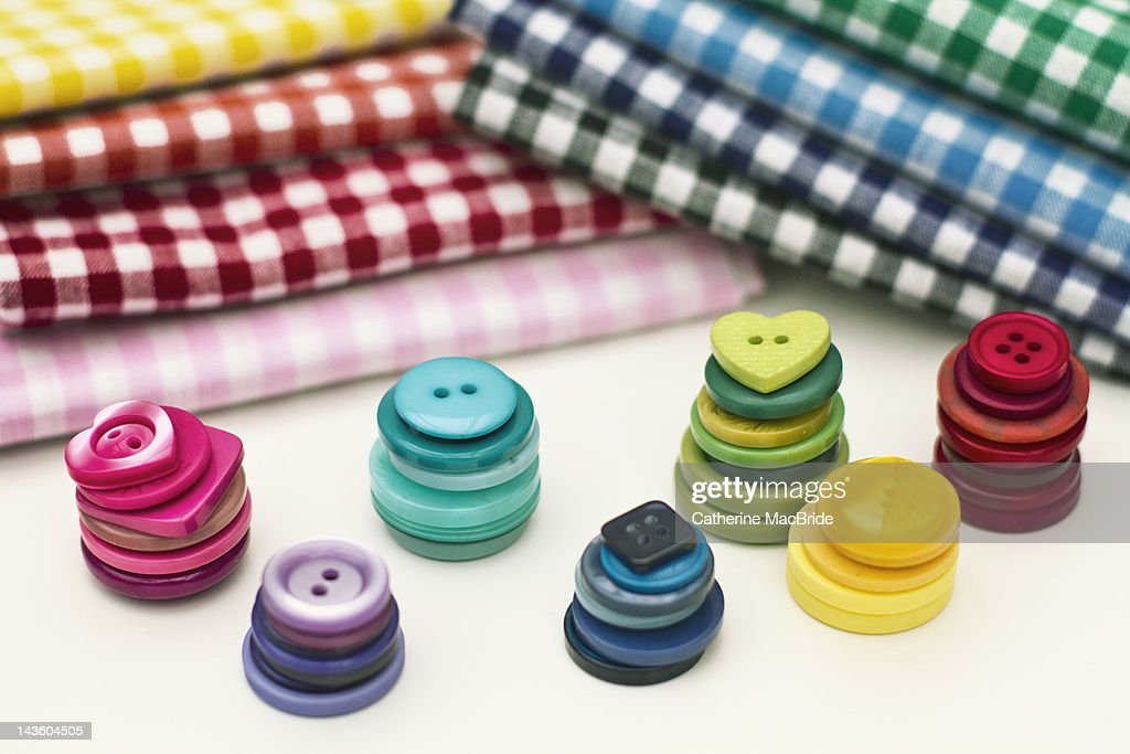 Buttons and gingham : Stock Photo