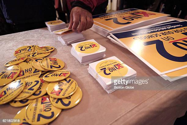 Buttons stickers and signs at an election night Massachusetts Democrats and antiQuestion Two watch party at Copley Plaza Hotel in Boston on Nov 8 2016