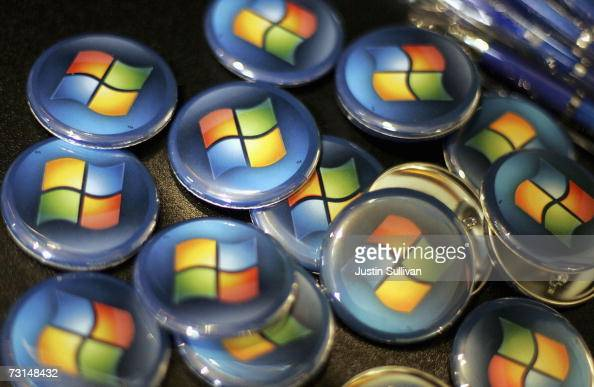 Buttons with the Microsoft logo are seen at a Comp USA store January 29 2007 in San Francisco California More than five years in the making Micorsoft...