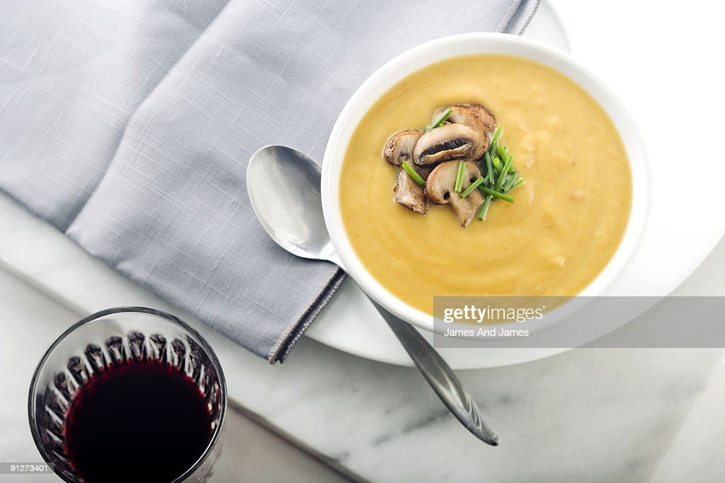 Buuternut Squash Soup with Red Wine : Stock Photo