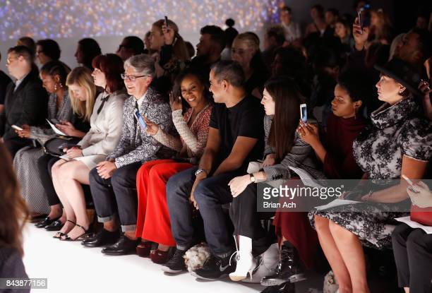 Buxton Midyette June Ambrose and Bibhu Mohapatra attend Supima Design Competition SS18 runway show during New York Fashion Week at Pier 59 on...