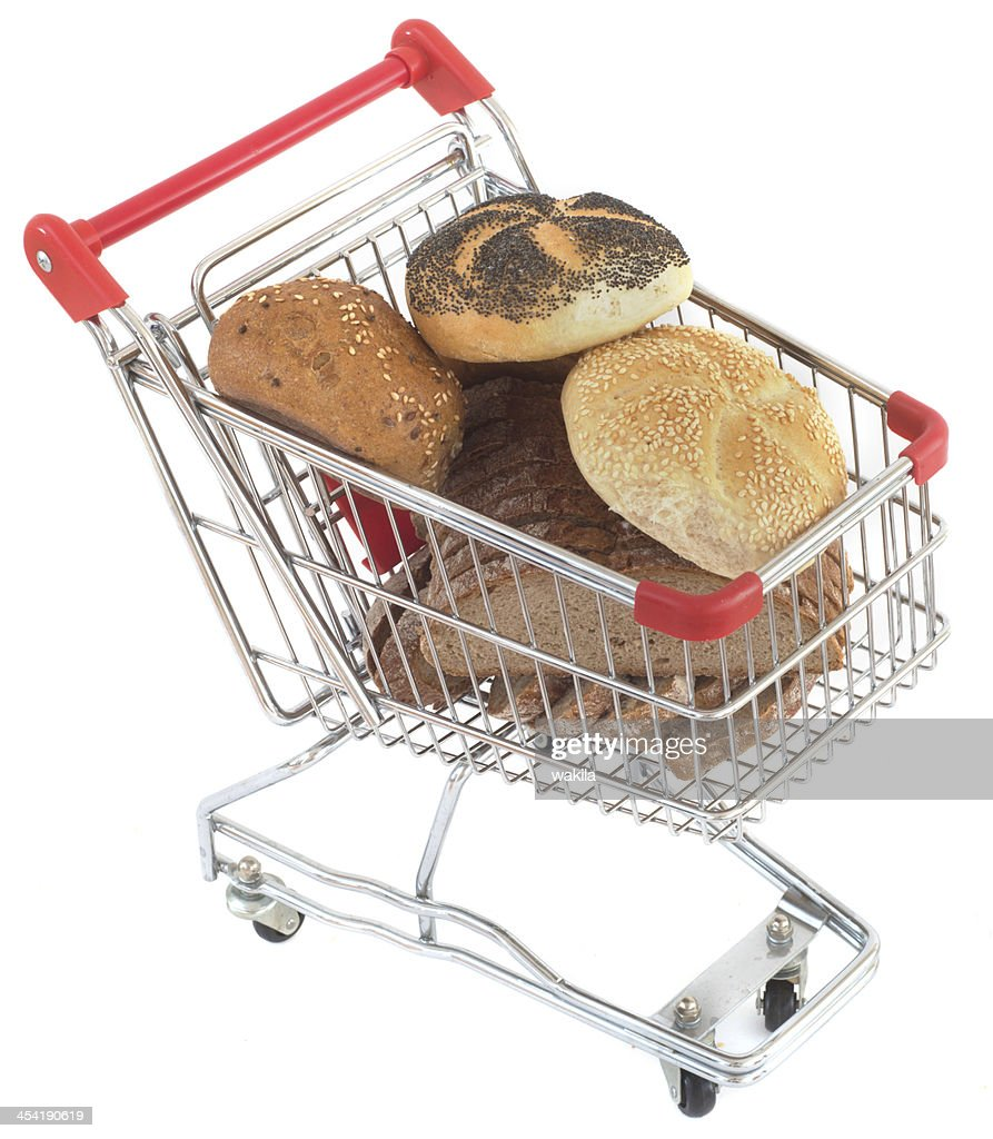 buy buns in shopping cart : Stock Photo