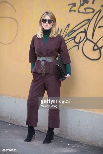 Buyer Annabel Rosendahl wears a Bruuns Bazaar outfit Louis Vuitton belt Fall Winter Spring Summer turtleneck Celine bag and Celine shoes on February...