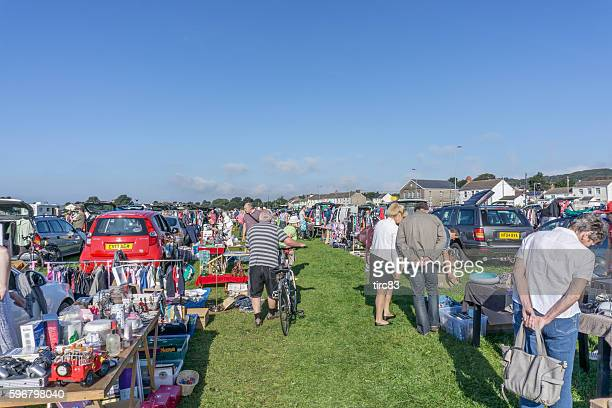 Buyers and sellers at UK car boot sale