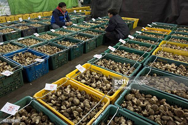 Buyers chat as they inspect boxes of shitake mushroom ahead of an auction at Garak Market operated by Seoul AgroFisheries Food Corp in Seoul South...