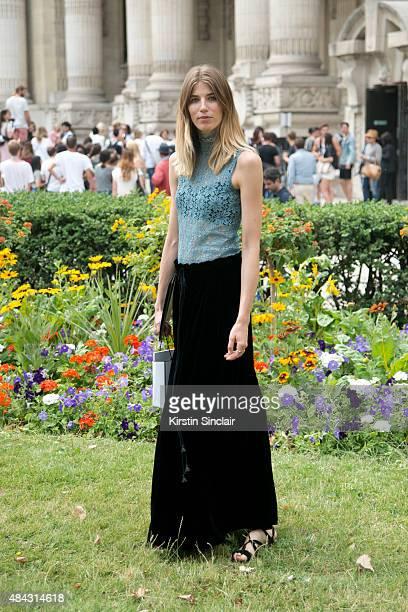 Buying Director of mytheresacom Veronika Heilbrunner wears a Chloe skirt Acne top and John vitorossi shoes on day 3 of Paris Fashion Week Haute...