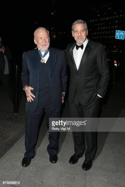 Buzz Aldrin and George Clooney attend Lost In Space anniversary party at Tate Modern to mark the 60th anniversary of Speedmaster on April 26 2017 in...