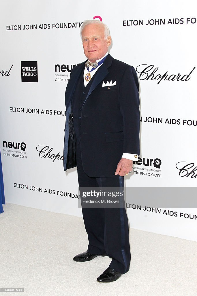 Buzz Aldrin arrives at the 20th Annual Elton John AIDS Foundation's Oscar Viewing Party held at West Hollywood Park on February 26, 2012 in West Hollywood, California.