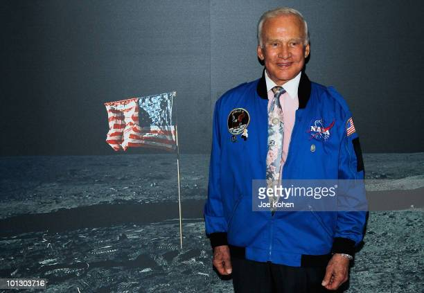Buzz Aldrin poses at new Intrepid Museum exhibition '27 Seconds' at Intrepid SeaAirSpace Museum on May 31 2010 in New York City