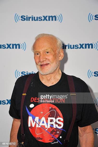 Buzz Aldrin poses for a photo at the SiriusXM Studios on September 10 2015 in New York City