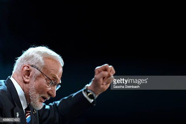 Buzz Aldrin reacts during the 'Steiger Award 2014' at Heinrichshuette on October 3 2014 in Hattingen Germany