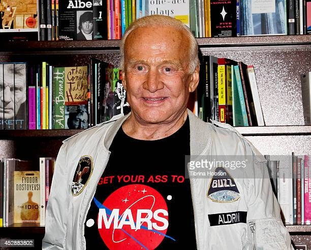 Buzz Aldrin signs copies of his book at at Barnes Noble Booksellers on July 28 2014 in Glendale California