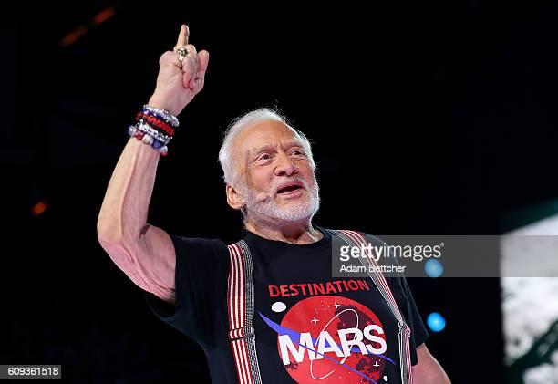 Buzz Aldrin speaks during WE Day Minnesota at Xcel Energy Center on September 20 2016 in St Paul Minnesota