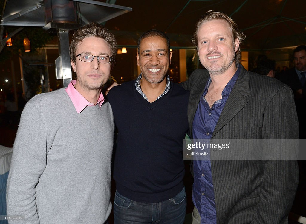 BuzzFeed CEO and founder Jonah Peretti, BuzzFeed West Coast vice president of sales Terry City, and BuzzFeed executive VP of video Ze Frank attend BuzzFeed's Los Angeles Bureau Party at SkyBar at the Mondrian Los Angeles on November 29, 2012 in West Hollywood, California.
