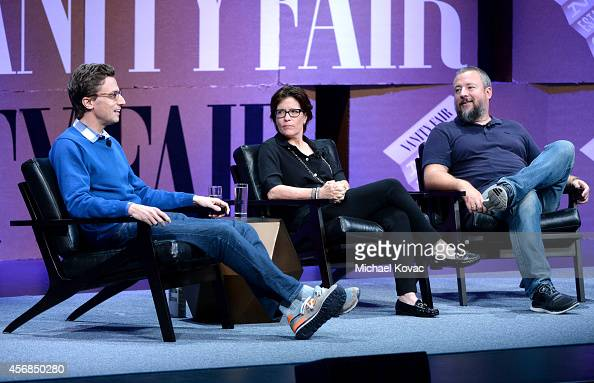 "Buzzfeed CEO Jonah Peretti Re/code Coexecutive Editor Kara Swisher and Vice CoFounder Shane Smith speak onstage during '""Missing Ink The New..."