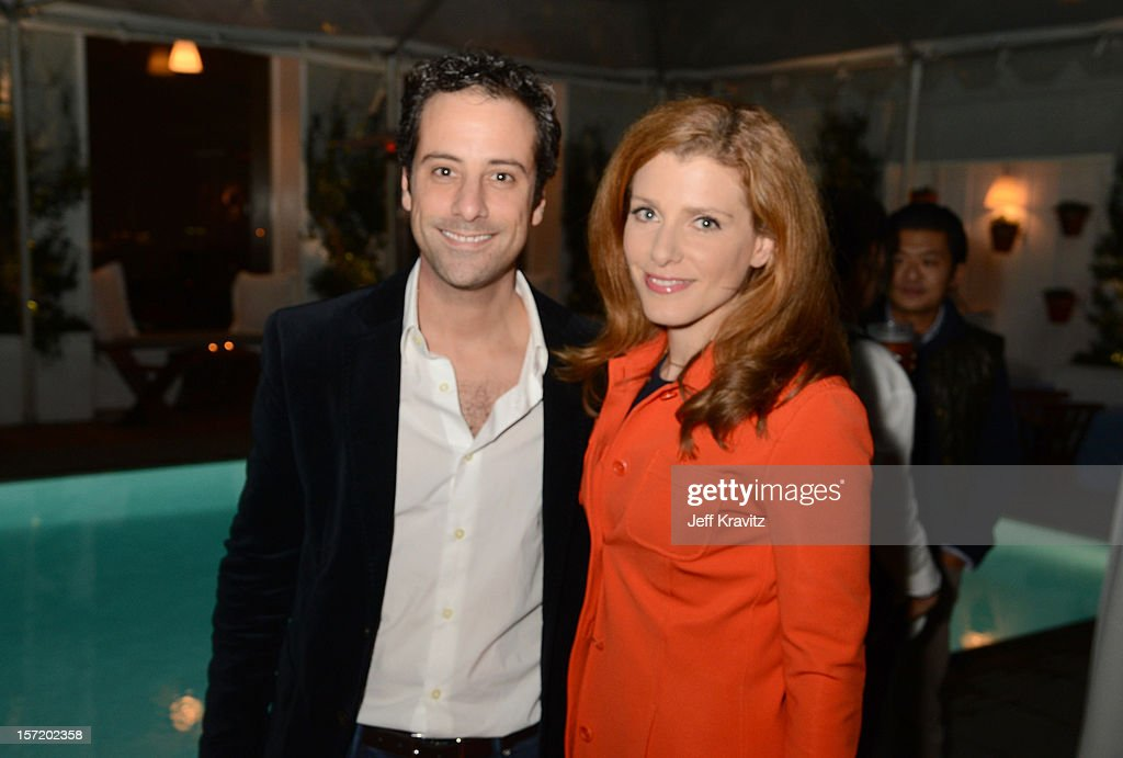 BuzzFeed president and COO Jon Steinberg (L) and CNBC's Julia Boorstin attend BuzzFeed's Los Angeles Bureau Party at SkyBar at the Mondrian Los Angeles on November 29, 2012 in West Hollywood, California.