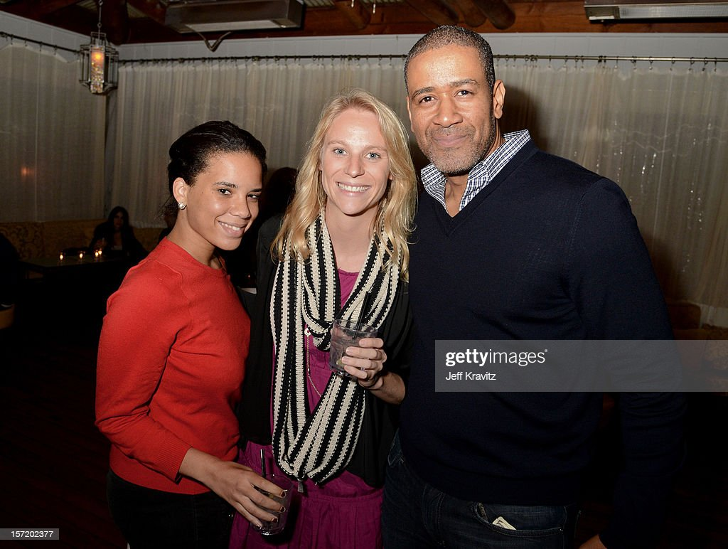 BuzzFeed West Coast vice president of sales Terry City (R) and guests attend BuzzFeed's Los Angeles Bureau Party at SkyBar at the Mondrian Los Angeles on November 29, 2012 in West Hollywood, California.