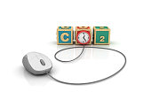 CO2 Buzzword Cubes with Clock and Computer Mouse - White Background - 3D Rendering
