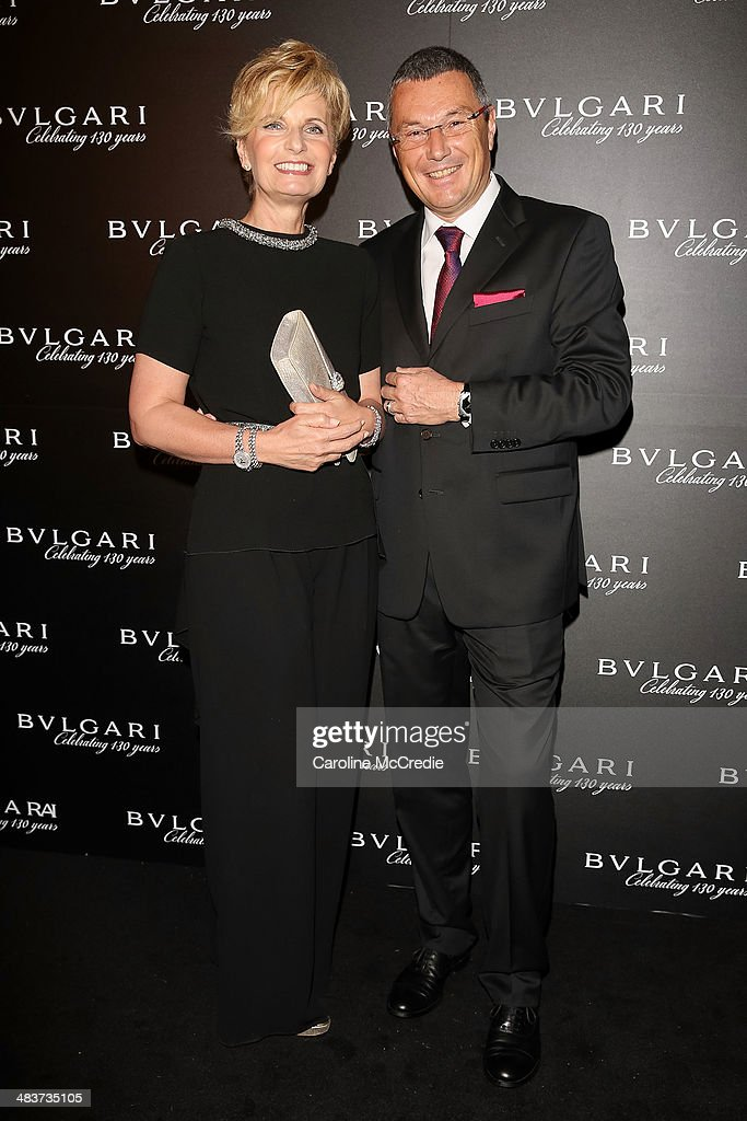Bvlgari CEO <a gi-track='captionPersonalityLinkClicked' href=/galleries/search?phrase=Jean-Christophe+Babin&family=editorial&specificpeople=2627159 ng-click='$event.stopPropagation()'>Jean-Christophe Babin</a> (R) and Bvlgari Vice President Sabina Belli attend the 130th Anniversary of Bvlgari Gala Dinner on April 10, 2014 in Sydney, Australia.
