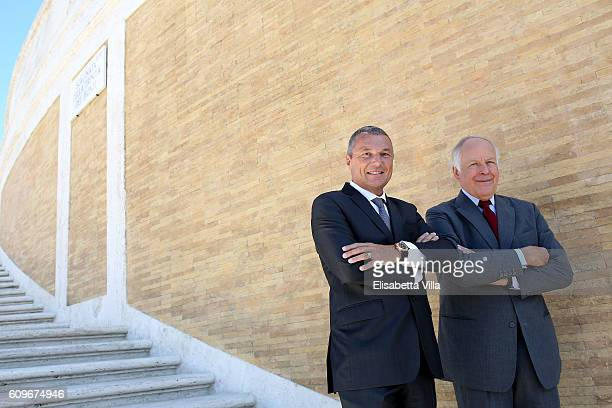 Bvlgari CEO JeanChristophe Babin and Nicola Bulgari the Bvlgari Tribute To Spanish Steps Press Conference on September 22 2016 in Rome Italy