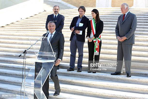 Bvlgari CEO JeanChristophe Babin holds a speech with Claudio Parisi Presicce Luca Bergamo Rome Mayor Virginia Raggi and Nicola Bulgari the Bvlgari...