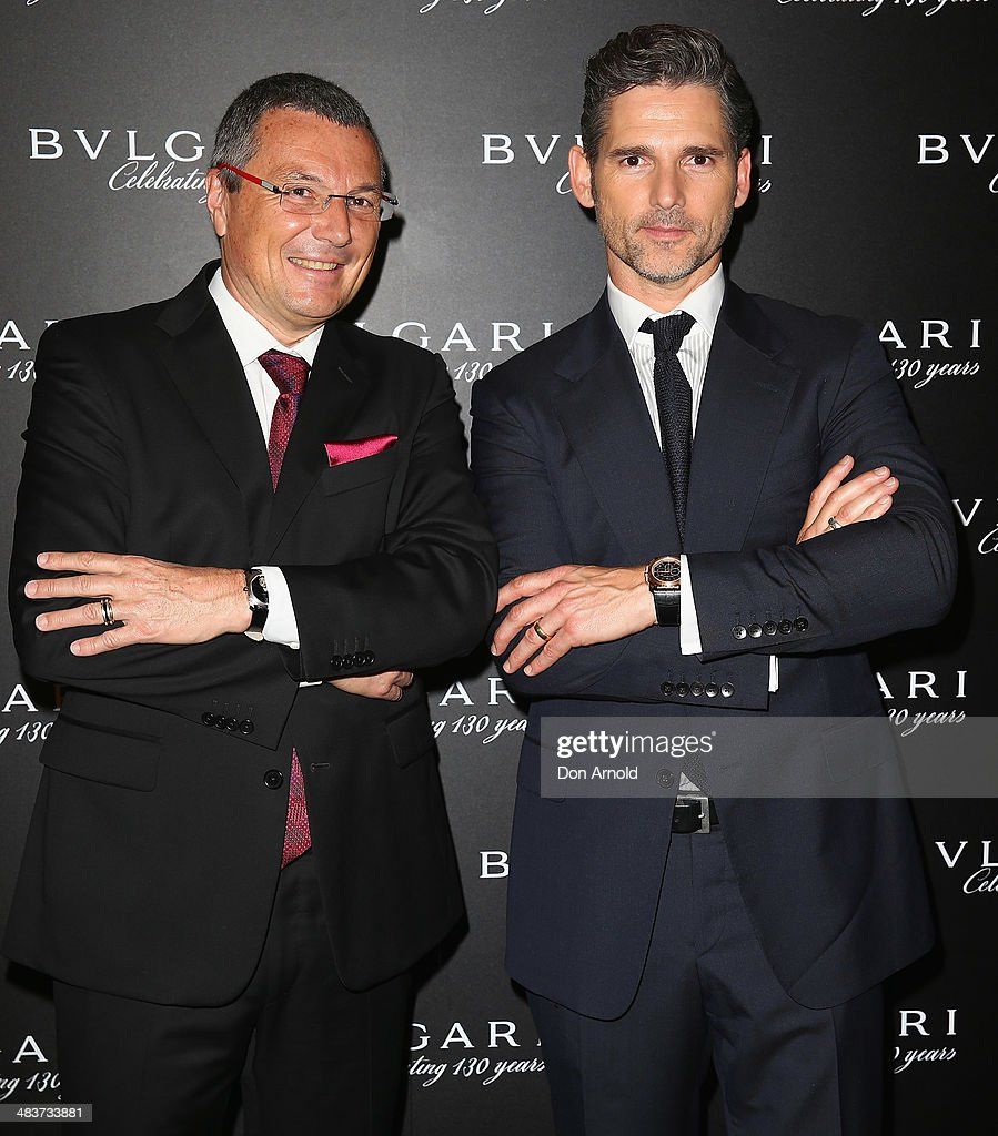 Bvlgari CEO <a gi-track='captionPersonalityLinkClicked' href=/galleries/search?phrase=Jean-Christophe+Babin&family=editorial&specificpeople=2627159 ng-click='$event.stopPropagation()'>Jean-Christophe Babin</a> poses alongside <a gi-track='captionPersonalityLinkClicked' href=/galleries/search?phrase=Eric+Bana&family=editorial&specificpeople=202104 ng-click='$event.stopPropagation()'>Eric Bana</a> at the 130th Anniversary of Bvlgari Gala Dinner at a private residence in Darling Point on April 10, 2014 in Sydney, Australia.