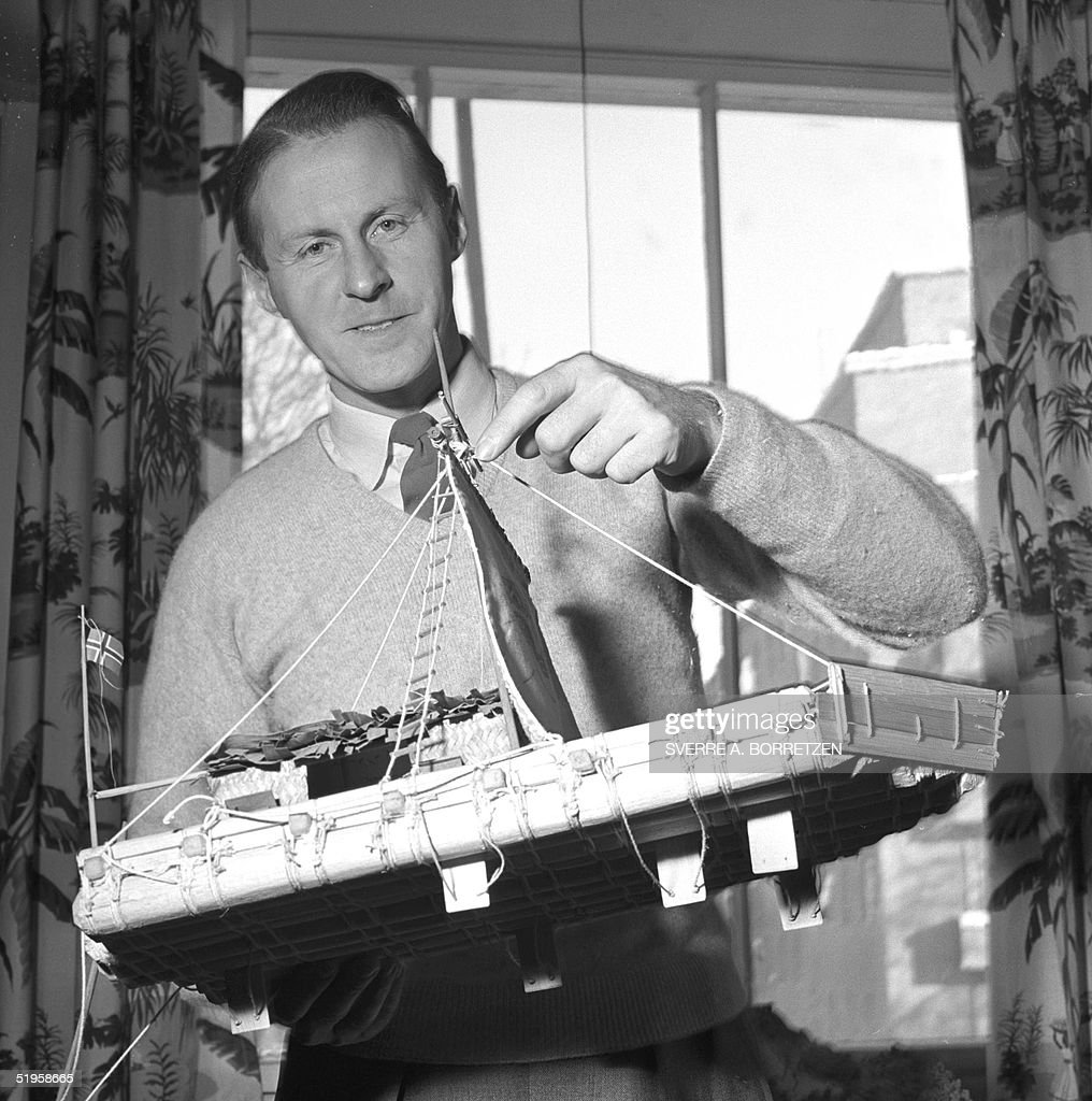 A b/w photo dated 1955 shows Norwegian adventurer and natural scientist <a gi-track='captionPersonalityLinkClicked' href=/galleries/search?phrase=Thor+Heyerdahl&family=editorial&specificpeople=931459 ng-click='$event.stopPropagation()'>Thor Heyerdahl</a> holding a model of the Kon-Tiki balsa raft on which he and his crew crossed the Pacific Ocean in 1947. Heyerdahl, 87, died 18 April 2002, in his home in Colla Michari, an old Italian village. Heyerdahl led a six-man expedition which left Callao, Peru on April 28, 1947, and sailed across the Pacific Ocean to Polynesia to prove that the Pacific islands had been inhabited by migrants from South America and not excvlusively from Southeast Asia.