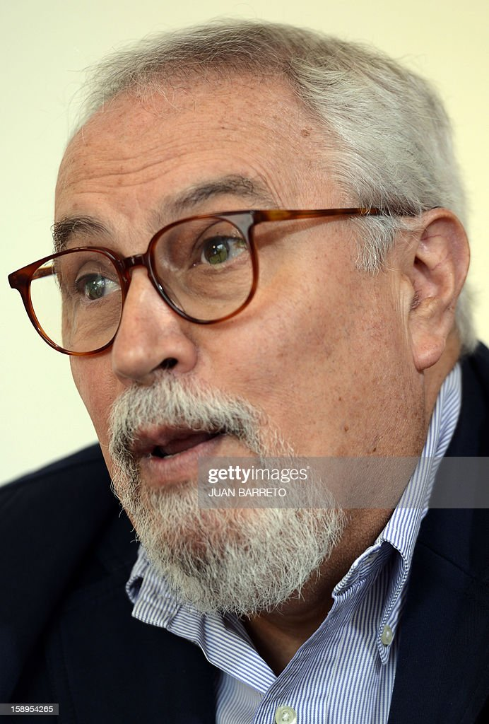 STORY by Anna Pelegri Ramon Guillermo Aveledo, head of Venezuela's opposition umbrella group MUD, speaks during an interview offered on January 4, 2013 in Caracas. AFP PHOTO/JUAN BARRETO