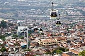 STORY by Ariela Navarro Picture showing the Metrocable cable railway in Santo Domingo neighbourhood in Medellin Antioquia department Colombia on...