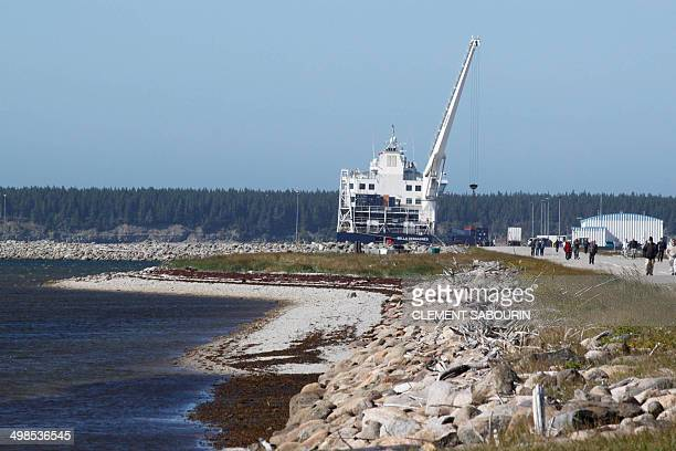 STORY by Clement SABOURIN CANADAQUEBECOILGASENERGYA ferry is seen on August 13 2013 on Anticosti Island Canada where everything is imported from the...