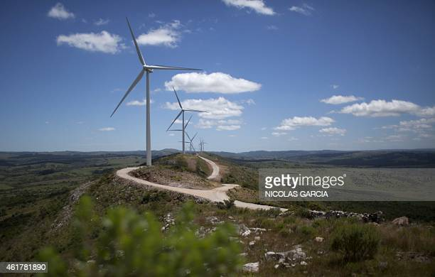 STORY by Eugenia Logiuratto Wind turbines are seen at the Sierra de los Caracoles wind farm in the department of Maldonado east of Montevideo on...