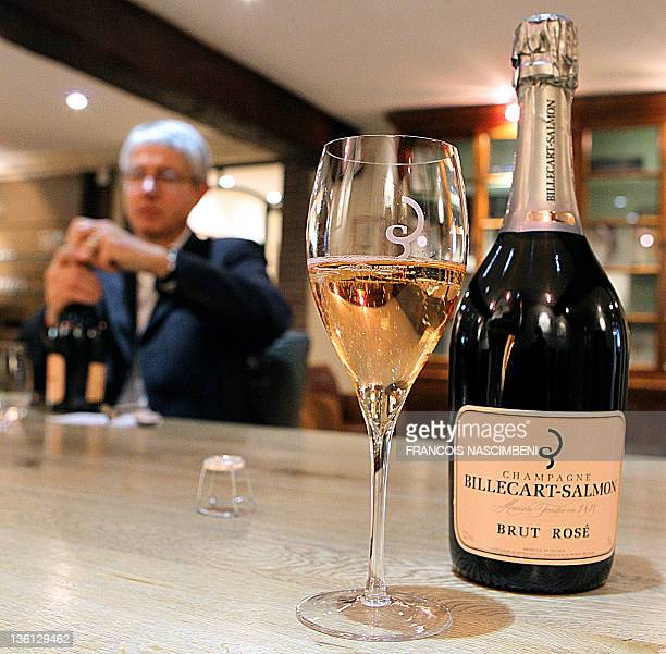 STORY by Gersende Rambourg FILES A picture taken on October 24 2011 in MareuilsurAy eastern France shows a flute of rosé champagne during a tasting...