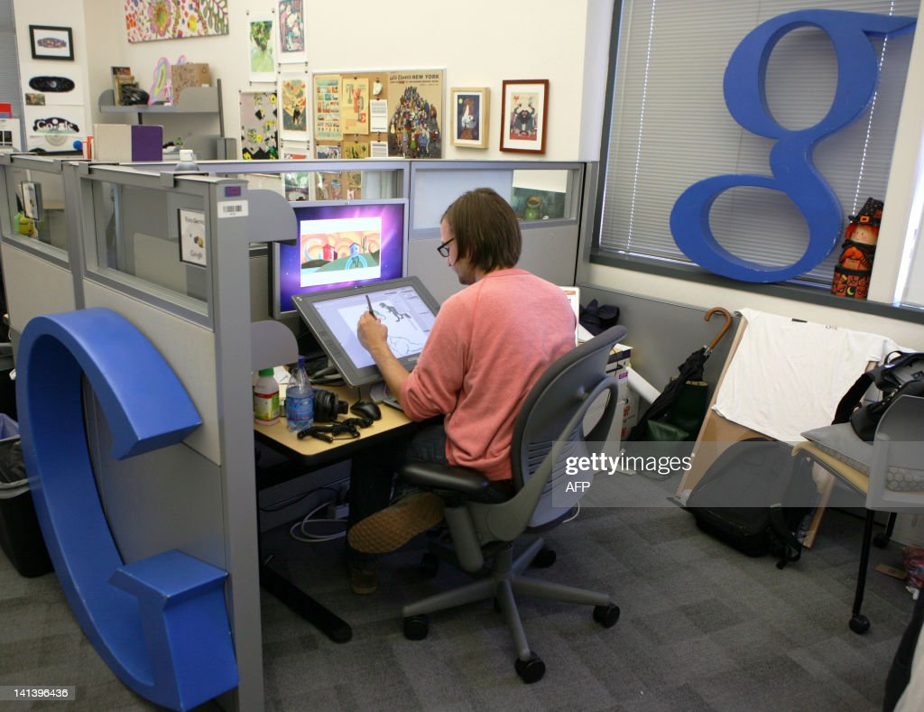 STORY by Glenn Chapman, US-IT-Internet-art-software-music-Google-Doodle Google Doodle Creative Lead Ryan Germick works on an illustration at the Google headquarters in Mountain View, California, on September 2, 2011. A tribute to legendary Queen front man Freddie Mercury took center stage at Google in much of the world on September 5, 2011 in the latest 'doodle' merging technology and art to show the Internet giant's human side. An animated video crafted into the logo on Google's search page to honor what would have been the late rock legend's 65th birthday marked the latest step in the evolution of doodles that started as rudimentary clip art. Google users woke to Mercury everywhere but in the United States, where a Labor Day holiday prompted the doodle to be bumped to September 6. AFP PHOTO/KIMIHIRO HOSHINO