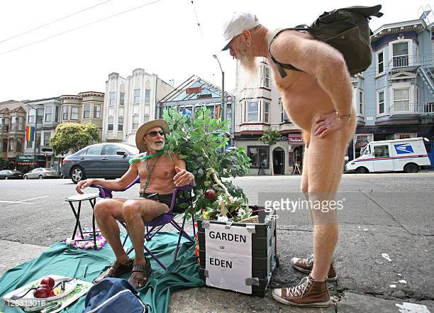 STORY by Hermione GEE LifestyleUSgaynudismlawstravel Naturist George Davis chats with his friend Woody Miller in the Castro district of San Francisco...