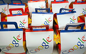 STORY by Laurence Benhamou FILES Picture taken 16 November 2005 shows Google bags at the opening of the GooglePlex their new London office Born 10...