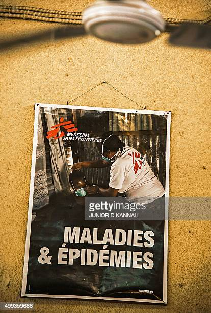 STORY by Marc JOURDIER A picture taken on November 30 2015 shows a poster at the MSF HIV centre in Lingala The MSF AIDS project in Democratic...