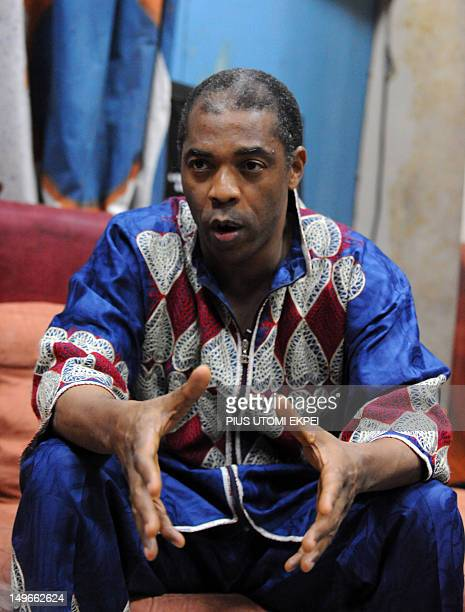 STORY by MJ Smith Nigerian musician Femi Kuti son of legendary afrobeat musician and activist Fela AnikulakpoKuti speaks at the New Afrika Shrine in...