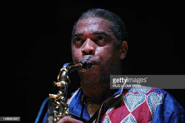 STORY by MJ Smith Nigerian musician Femi Kuti son of legendary afrobeat musician and activist Fela AnikulakpoKuti plays saxophone at the New Afrika...