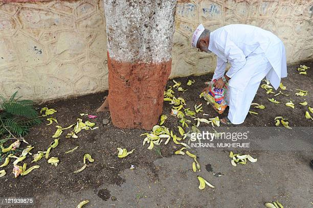 STORY 'INDIACORRUPTIONDISSENTVILLAGE' by Phil Hazlewood Ramesh Deshmukh a supporter of Anna Hazare collects banana peels and litter left behind by...
