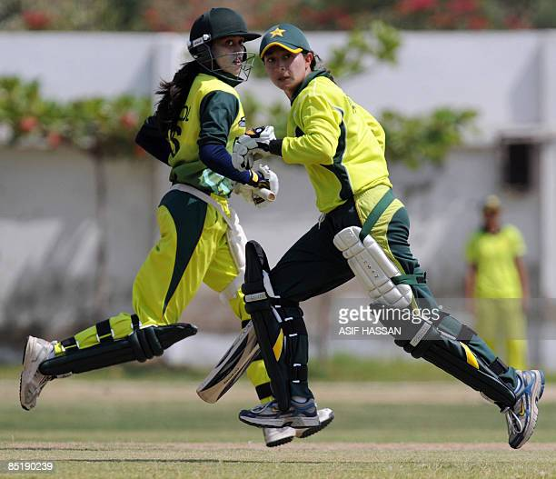 STORY 'CRICKETPAKWC2009WOMENFEATURE' by Shahid Hashmi This picture taken on February 27 2009 shows Pakistani women cricketers Batool Fatima and...