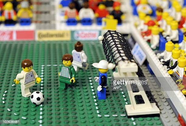 STORY by SIMON STURDEE View of a goal scene set up with Lego figures by 19yearold Fabian Moritz at his home in Laatzen near by Hanover northern...