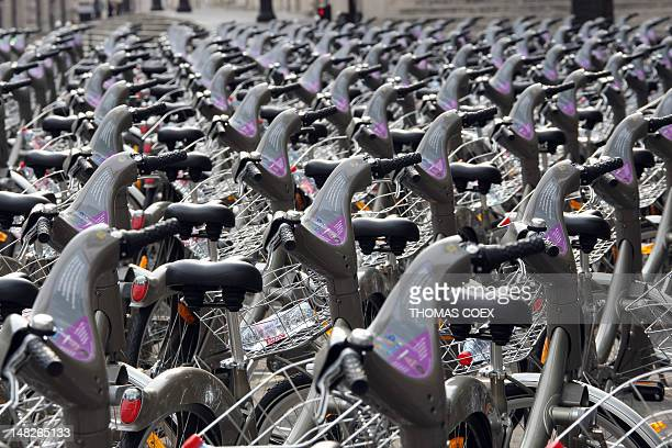 STORY by SOPHIE LAUTIER FILES A picture taken on July 27 2008 shows a 'Velib' bicycle station in Paris On July 15 the first 750 stations for rental...
