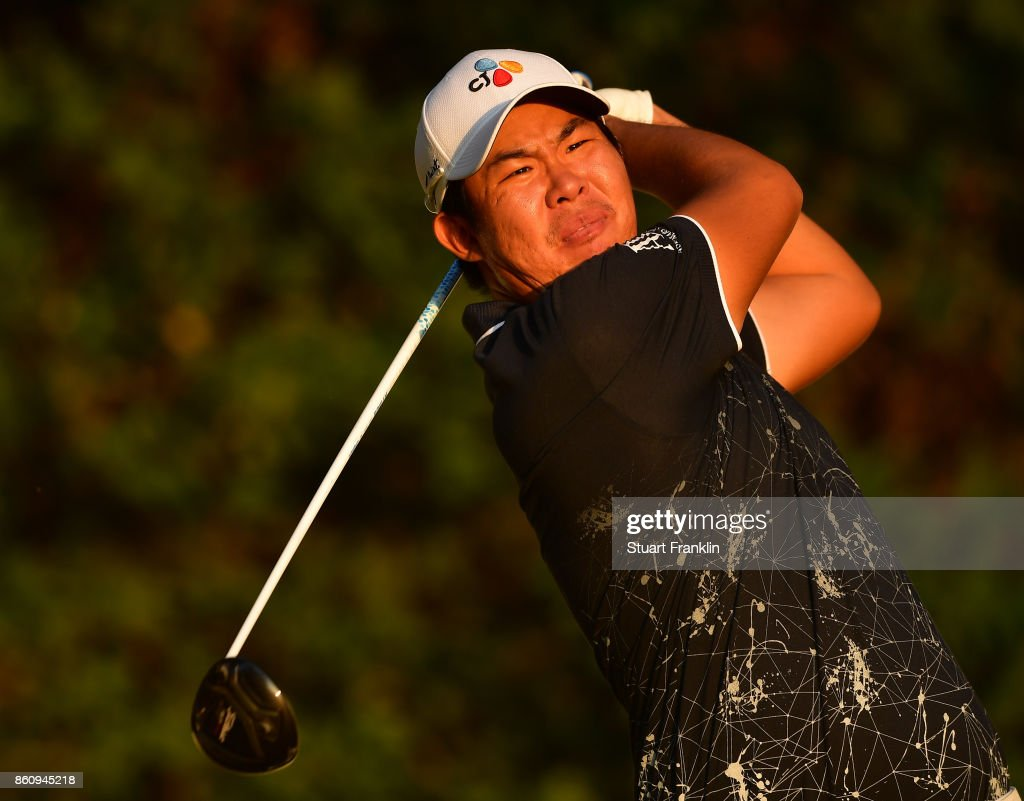 Byeong Hun An of Korea plays a shot during the second round of The Italian Open at Golf Club Milano - Parco Reale di Monza on October 13, 2017 in Monza, Italy.